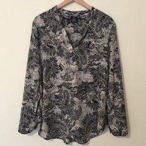 Bobeau | Black & Grey Floral Leaf Hi-Lo Tunic XL